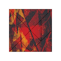 Surface Line Pattern Red Acrylic Tangram Puzzle (4  X 4 )