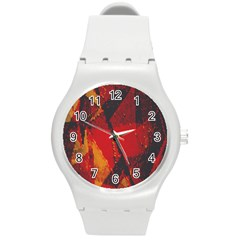 Surface Line Pattern Red Round Plastic Sport Watch (M)