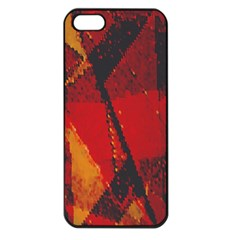 Surface Line Pattern Red Apple Iphone 5 Seamless Case (black)