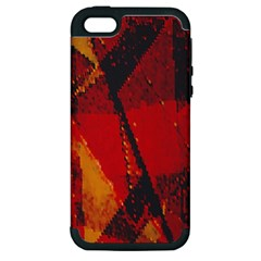 Surface Line Pattern Red Apple iPhone 5 Hardshell Case (PC+Silicone)