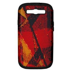 Surface Line Pattern Red Samsung Galaxy S III Hardshell Case (PC+Silicone)