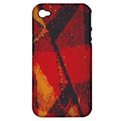Surface Line Pattern Red Apple Iphone 4/4s Hardshell Case (pc+silicone)