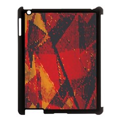 Surface Line Pattern Red Apple iPad 3/4 Case (Black)