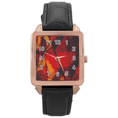 Surface Line Pattern Red Rose Gold Leather Watch