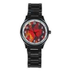 Surface Line Pattern Red Stainless Steel Round Watch