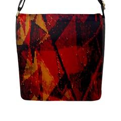 Surface Line Pattern Red Flap Messenger Bag (L)