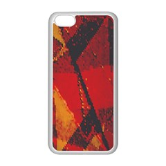 Surface Line Pattern Red Apple Iphone 5c Seamless Case (white)