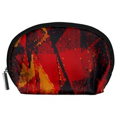 Surface Line Pattern Red Accessory Pouches (Large)