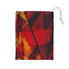 Surface Line Pattern Red Drawstring Pouches (Large)