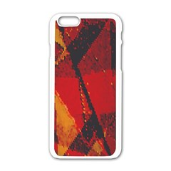 Surface Line Pattern Red Apple iPhone 6/6S White Enamel Case
