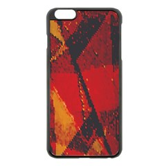 Surface Line Pattern Red Apple iPhone 6 Plus/6S Plus Black Enamel Case