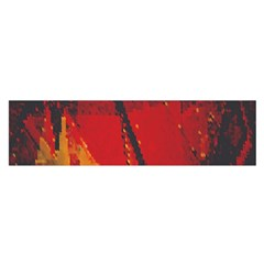 Surface Line Pattern Red Satin Scarf (oblong)