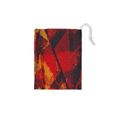 Surface Line Pattern Red Drawstring Pouches (XS)