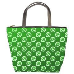 Whatsapp Logo Pattern Bucket Bags