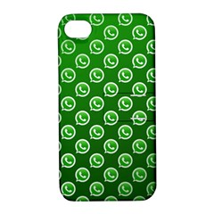 Whatsapp Logo Pattern Apple iPhone 4/4S Hardshell Case with Stand