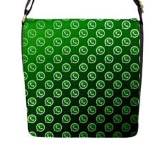 Whatsapp Logo Pattern Flap Messenger Bag (L)