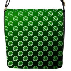 Whatsapp Logo Pattern Flap Messenger Bag (s)