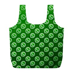 Whatsapp Logo Pattern Full Print Recycle Bags (L)