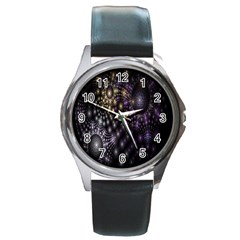 Fractal Patterns Dark Circles Round Metal Watch