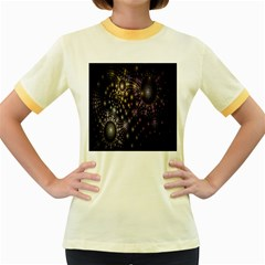Fractal Patterns Dark Circles Women s Fitted Ringer T-Shirts