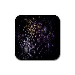 Fractal Patterns Dark Circles Rubber Square Coaster (4 pack)