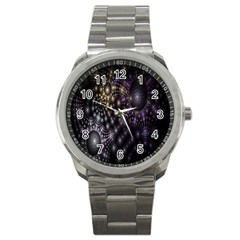 Fractal Patterns Dark Circles Sport Metal Watch