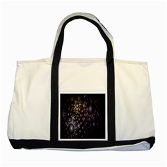 Fractal Patterns Dark Circles Two Tone Tote Bag