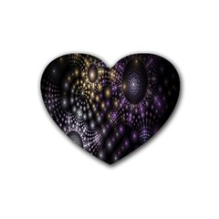 Fractal Patterns Dark Circles Rubber Coaster (heart)