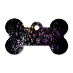 Fractal Patterns Dark Circles Dog Tag Bone (One Side)
