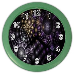 Fractal Patterns Dark Circles Color Wall Clocks