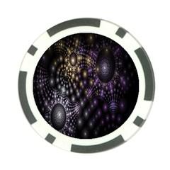 Fractal Patterns Dark Circles Poker Chip Card Guard