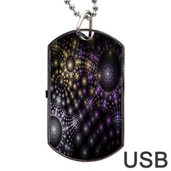 Fractal Patterns Dark Circles Dog Tag USB Flash (One Side)