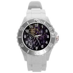 Fractal Patterns Dark Circles Round Plastic Sport Watch (L)