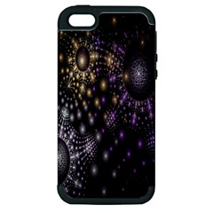 Fractal Patterns Dark Circles Apple iPhone 5 Hardshell Case (PC+Silicone)