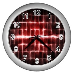 Electric Lines Pattern Wall Clocks (Silver)