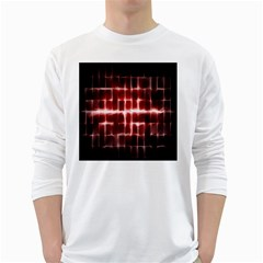 Electric Lines Pattern White Long Sleeve T-Shirts