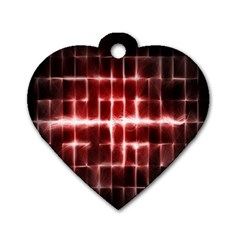 Electric Lines Pattern Dog Tag Heart (Two Sides)