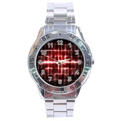 Electric Lines Pattern Stainless Steel Analogue Watch