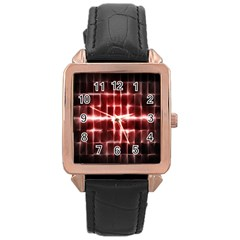 Electric Lines Pattern Rose Gold Leather Watch