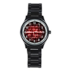 Electric Lines Pattern Stainless Steel Round Watch