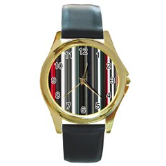 Miracle Mile Pattern Round Gold Metal Watch
