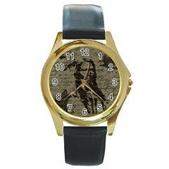 Indian chief Round Gold Metal Watch