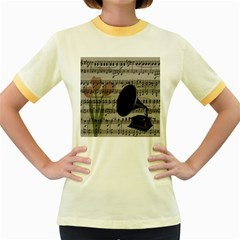 Vintage music design Women s Fitted Ringer T-Shirts