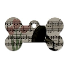 Vintage music design Dog Tag Bone (Two Sides)