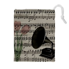 Vintage music design Drawstring Pouches (Extra Large)