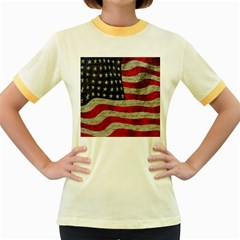 Vintage American flag Women s Fitted Ringer T-Shirts