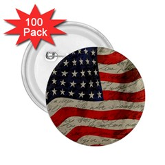 Vintage American flag 2.25  Buttons (100 pack)