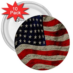 Vintage American flag 3  Buttons (10 pack)