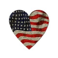 Vintage American flag Heart Magnet