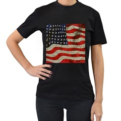 Vintage American flag Women s T-Shirt (Black) (Two Sided)